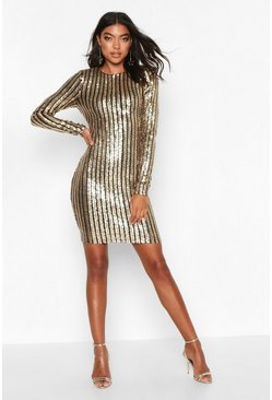 Silver Tall All Over Sequin Mini Dress