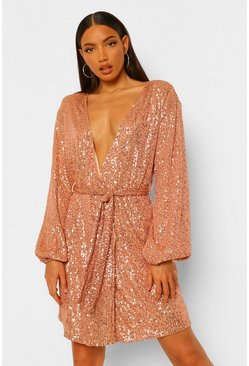 Gold metallic Tall Belted Sequin Blazer Dress