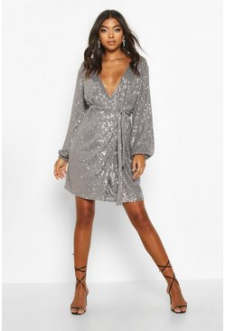 Pewter Tall Belted Sequin Blazer Dress