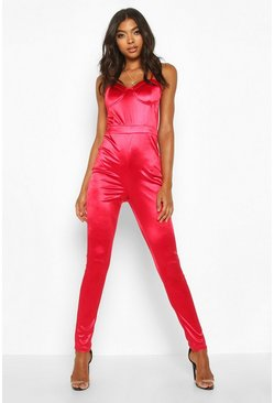 Red Tall Cup Detail Satin Jumpsuit