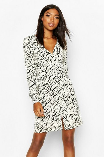 Ivory white Tall Polka Dot Button Through Mini Dress