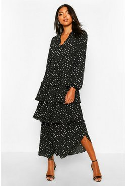 Black Tall Polka Dot Ruffle Skirt Midi Dress