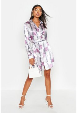 Lilac Tall Chain Print Belted Shirt Dress