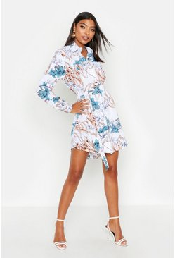 Ivory Tall Floral Print Belted Shirt Dress
