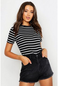 Black Tall Stripe Boxy T-Shirt