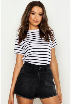 White Tall Stripe Boxy T-Shirt