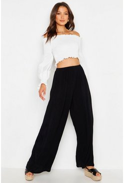 Black Tall Cheesecloth Wide Leg Trouser