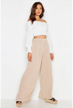 Ecru white Tall Cheesecloth Wide Leg Trouser