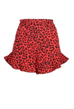 Red Tall Leopard Print Flippy Short