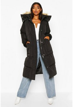 Black Tall Faux Fur Hood Longline Padded Coat