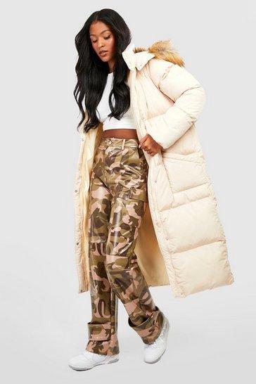 Caramel beige Tall Faux Fur Hood Longline Padded Coat