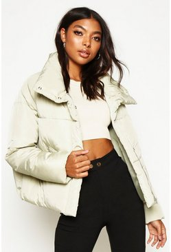 Sage Tall Crop Padded Funnel Neck Jacket