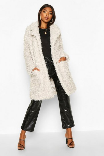Cream Tall Faux Fur Oversized Collar Coat
