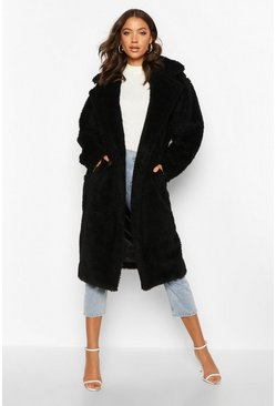 Black Tall Faux Fur Teddy Coat
