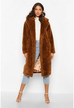 Tobacco brown Tall Faux Fur Teddy Coat