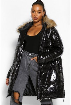 Black Tall Faux Fur Hood High Shine Padded Coat