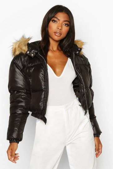 Black Tall Faux Fur Hooded Crop Padded Coat