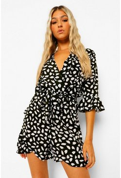 Black Tall Dalmatian Print Ruffle Wrap Playsuit