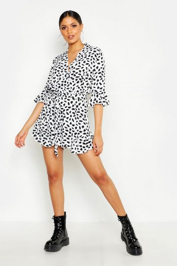 White Tall Dalmatian Print Ruffle Wrap Playsuit