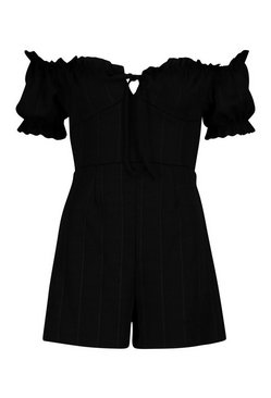 Black Tall Off The Shoulder Gypsy Playsuit