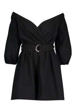 Black Tall Linen Mix Bardot Belted Wrap Playsuit