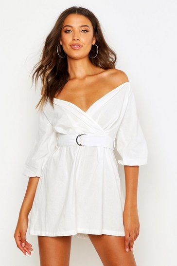 White Tall Linen Mix Bardot Belted Wrap Playsuit