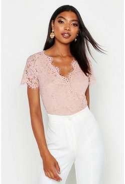 Blush pink Tall Short Sleeve Eyelash Lace Bodysuit