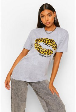 Grey Tall Leopard Print Lips Graphic T-Shirt