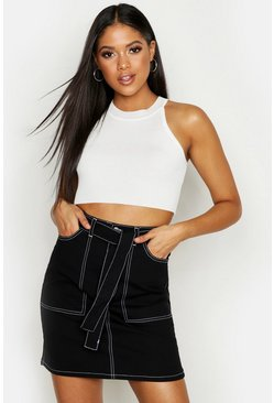 Black Tall Contrast Stitch Self Belt Denim Skirt