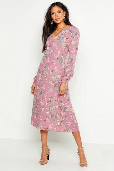 Lilac purple Tall Floral Print Wrap Midi Dress
