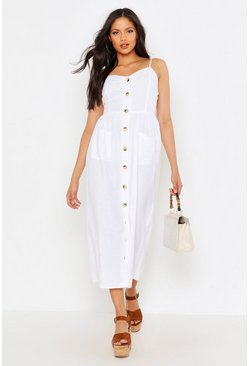 White Tall Button Through Linen Midi Dress