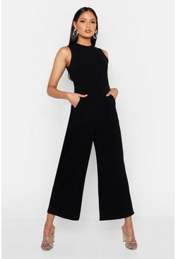 Black Tall Culotte Tailored Jumpsuit