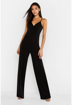 Black Tall Wrap Slinky Wide Leg Jumpsuit