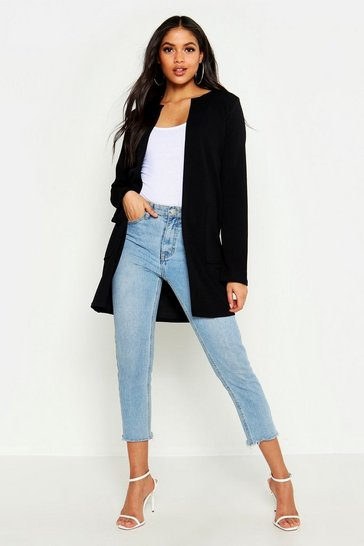 Black Tall Collarless Duster Jacket