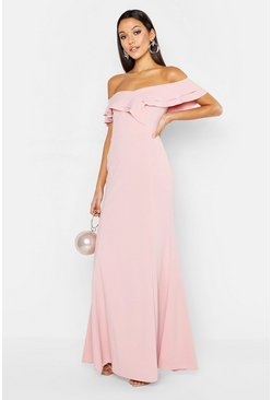 Soft pink pink Tall Ruffle Off the Shoulder Maxi Dress