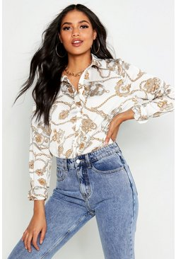 Ivory white Tall Chain Print Shirt