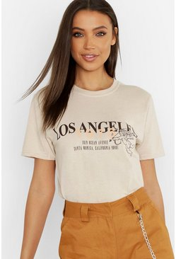 Tall T-shirt à slogan Los Angeles, Sable beige