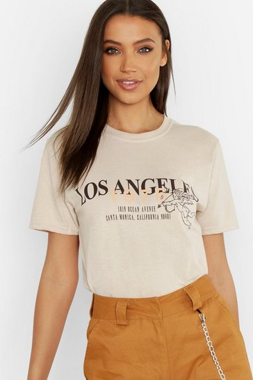 Sand Tall Los Angeles Slogan T-Shirt