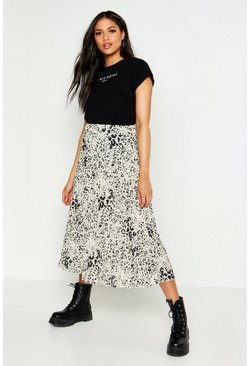 White Tall Leopard Print Pleated Midi Skirt