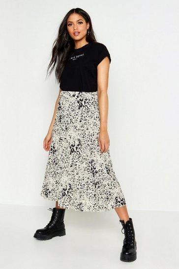 White Tall Leopard Print Pleated Midi Skirt
