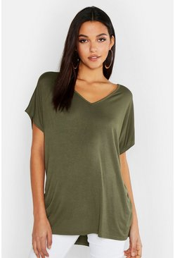 Khaki Tall V-Neck Basic T-Shirt