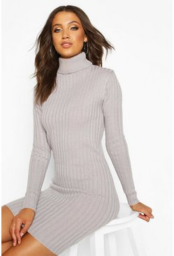 Grey Tall Longline Rib Knit Roll Neck Tunic