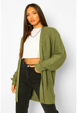 Khaki Tall Chunky Fisherman Knit Cardigan