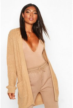 Camel beige Tall Chunky Cardigan With Pockets