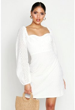 White Tall Broderie Anglaise Sweetheart Neck Mini Dress