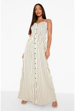 Stone beige Tall Stripe Button Up Pocket Maxi Dress