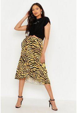 Yellow Tall Tiger Print Ruffle Wrap Skirt