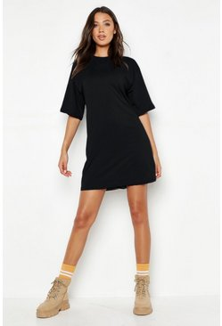 Black Tall Cotton Oversized T Shirt Dress