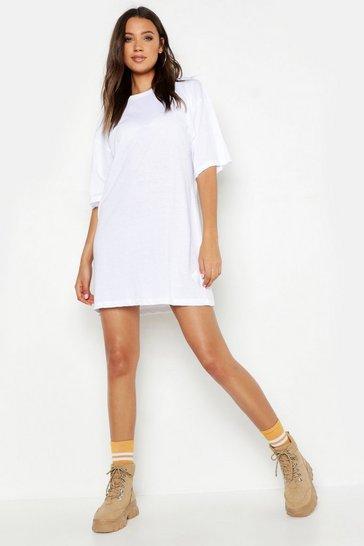 White Tall Cotton Oversized T Shirt Dress