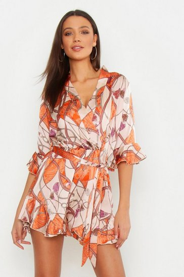 Orange Tall Scarf Print Ruffle Playsuit